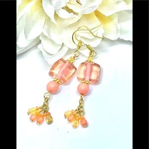 Peach Pink Square Glass and Orange Dangle Earrings